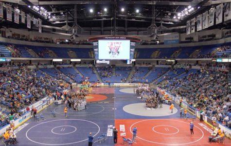 Wilkes wrestling team volunteers at the Mohegan Sun Arena