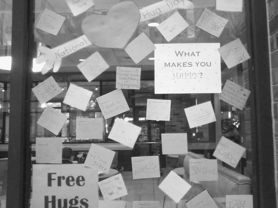 To celebrate National Hug Day Student Development held a free hugs event. The event took place in the Henry Student Center.