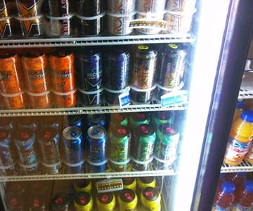 Energy drinks are readily available alongside sodas and fruit juice.