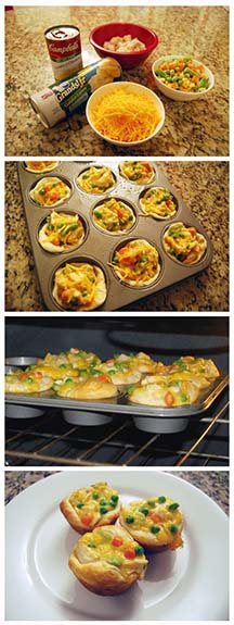 Chicken pot pie cupcakes are inexpensive and tasty.