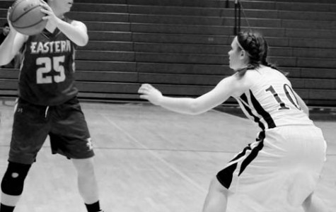 Junior Guard Elena Stambone guards an Eastern player as she looks for a teammate to pass to.