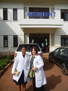 Dr. Bohan and pharmacist Vicky outside the China-Uganda Friendship Hospital.