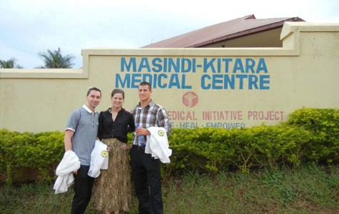 Pharmacy APPE students visiting the Kitara-Masindi Hospital. Left to right: Jeff Geraci from D'Youville College and Stacy Prelewicz and Dominick Ardo from Wilkes University.