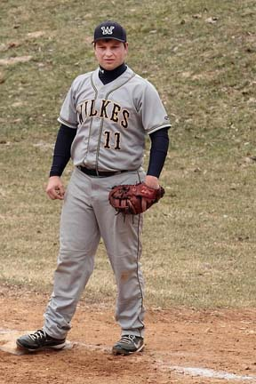 Stephen Ruch, shown here against Eastern University, had a run-scoring double against Keuka.