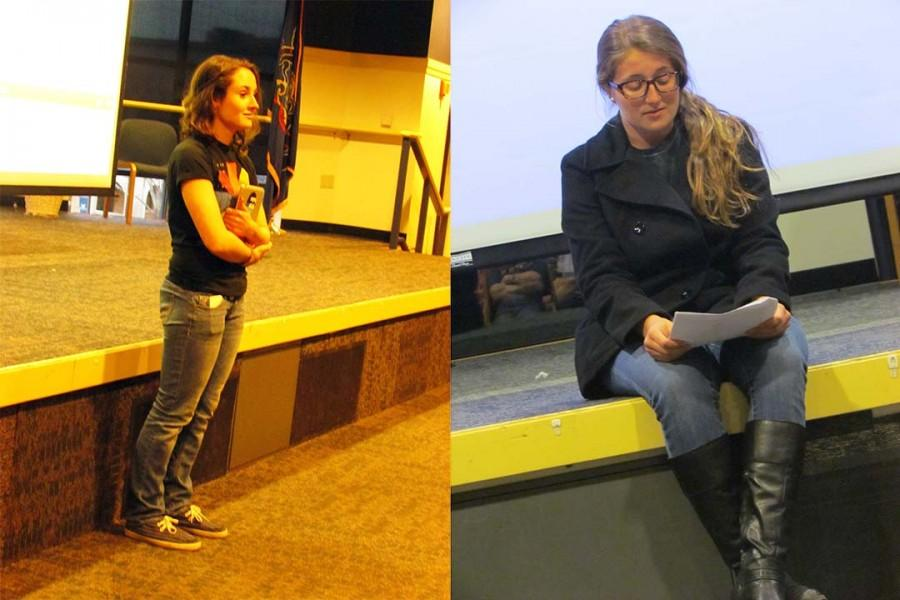 Lyssa Scott (left) and Jordyn Miller (right) both share personal stories at Tearing Down Fences.