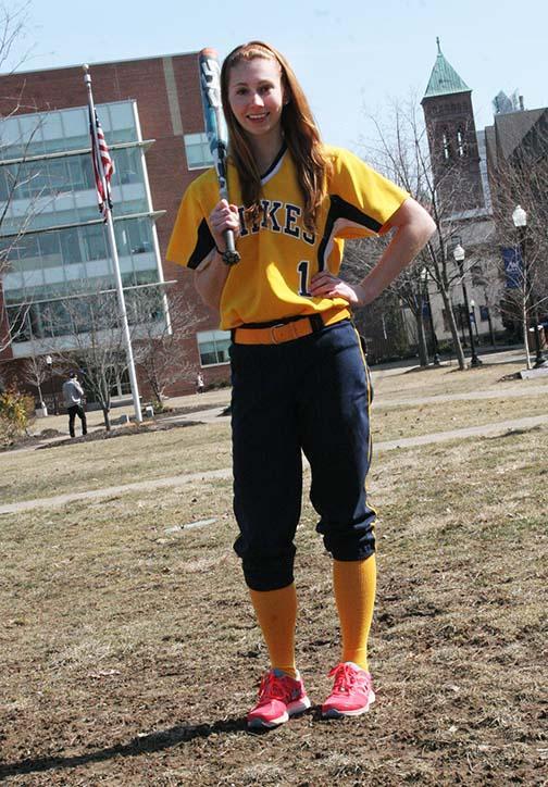 Freshman softball player Ashley Eden