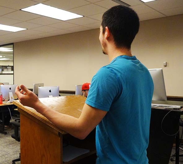 The senior capstone calls for adequate preparation, time-management and professionalism. Don't wait, start now. Junior history major James Gallagher, who has a minor in education, takes charge of the classroom in a practice capstone.