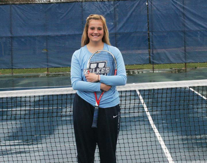 Freshman tennis player Kendra Croker