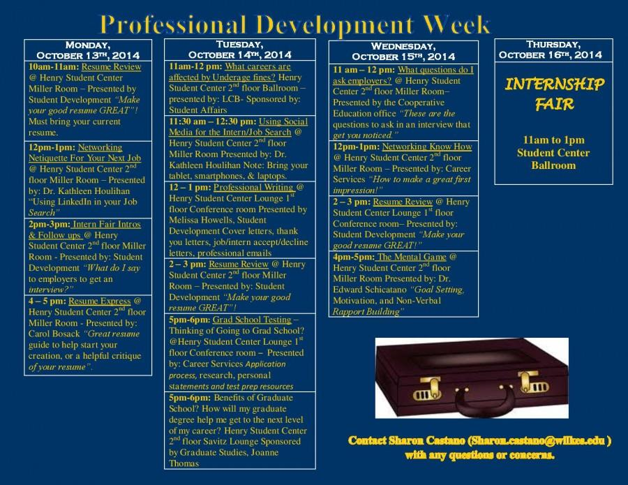 Student Development to host Professional Development Week