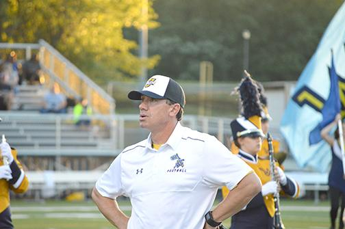 Coach Trey Brown preparing  before last Friday night's game against Delaware Valley.