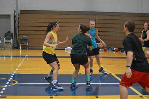 Members of the women's basketball team go head-to-head in preparation for the start of winter sports.
