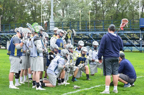 Men's Lacrosse practice concluding with Coach Jaques speaking to his players.