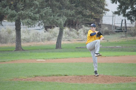 A member of the Wilkes baseball team takes the mound in a recent scrimmage.