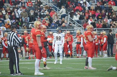 Zach Bogoly before a play at the Wilkes/King's rivalry game this past Saturday.