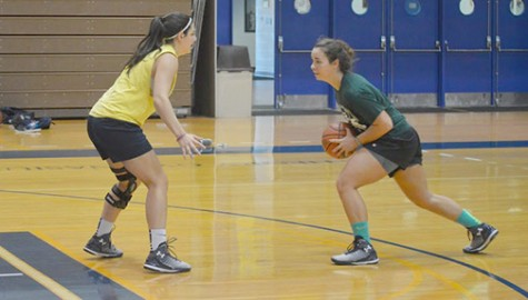Members of Women's basketball play a pickup game during a recent practice.