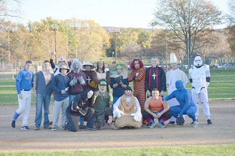 Players of Wilkes baseball gathered together for a fun photo on Friday afternoon after playing a game against one another dressing up in the spirit of Halloween.