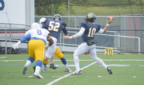 Dailey looks for a receiver during the homecoming game this past fall.