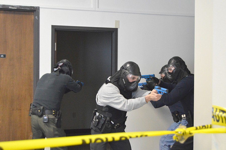 Wilkes Public Safety officers and local police officers join forces to complete the Advanced Law Enforcement Rapid Response Training (ALERRT) on January 18 and 20. Officers particpated in classroom theory and then particpated in simulation situations. Officers cleared rooms and checked the status of the other officers.