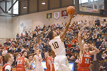 Marcus Robinson puts up a lay up in crucial win over King's this past Saturday.