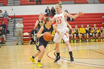 Senior Guard Missy Oertner looking to explode past the defender with the dribble at this past Wednesday's game.
