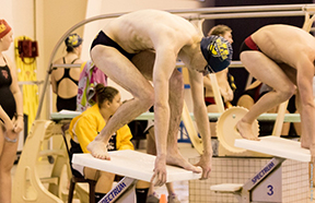 A member of the Wilkes men's swim team prepares for his event at the Middle Atlantic Conferencse championships this past weekend.