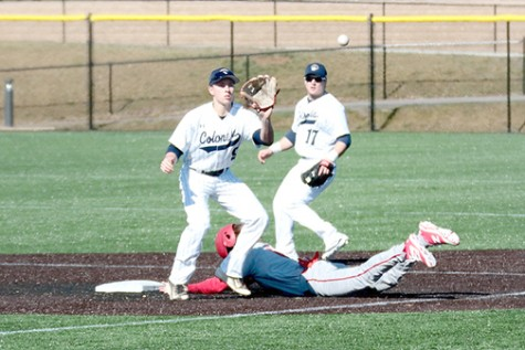 Shortstop Mike Wozniak recieves throw at 2nd base against Dickinson College.
