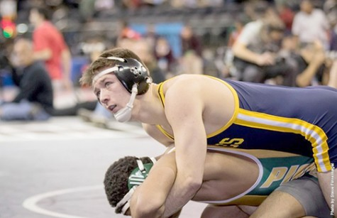 Nick Racanelli during his recent match at the NCAA Championship Tournament.