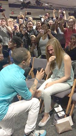 Rhyming to his future wife; surprise proposal happens at Talent Show