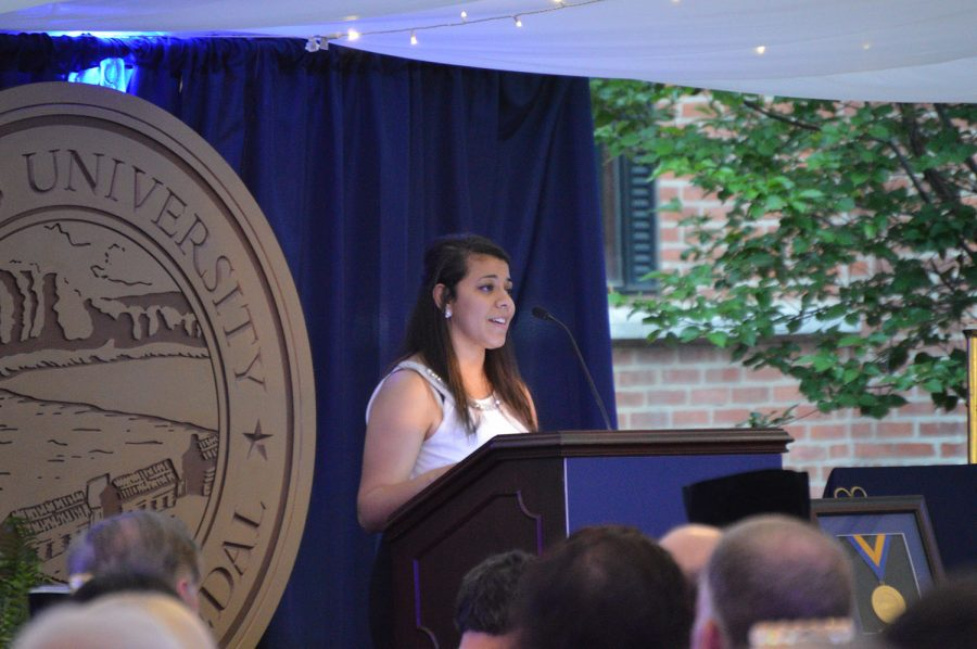 Youstena Zaki speaks at the Third Annual Wilkes University Founders Gala upon receiving the First Generation Scholarship.