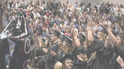 The newest alumni of Wilkes University applaud as the 2016 Spring Commencement concludes. In total, 715 students graduated during the ceremonies.