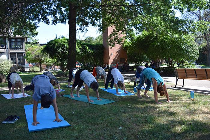 Participants begin stretching during the outdoor yoga session.