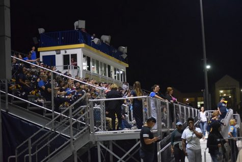 Spectators fill the newly built bleachers at the Ralston Athletic Complex.
