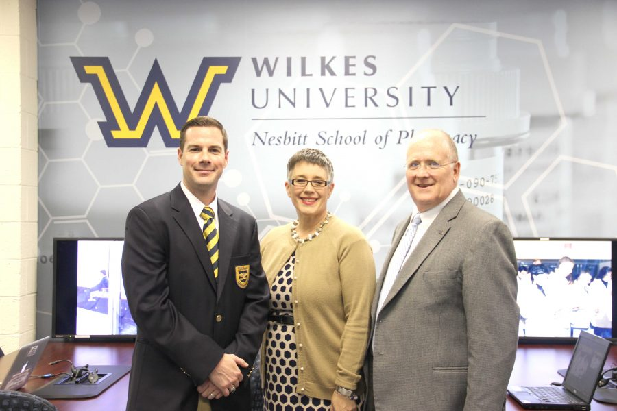 Left to right: Associate pharmacy professor Dr. Jon Ference,  Vice President/ Provost Dr. Anne Skleder, and Dean of Pharmacy Dr. Bernard Graham