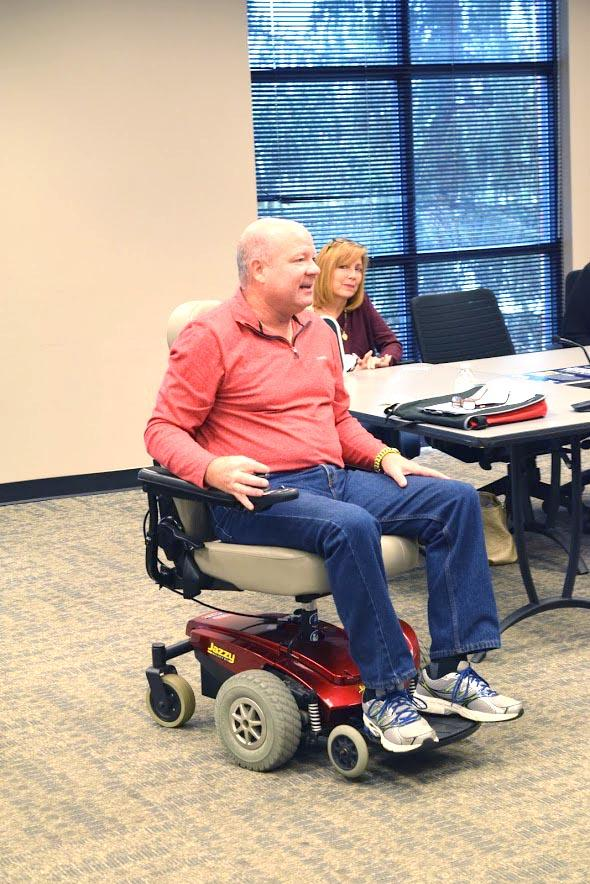 Paul Miller and his wife, Eileen, speak to Wilkes students about ALS to raise awareness.