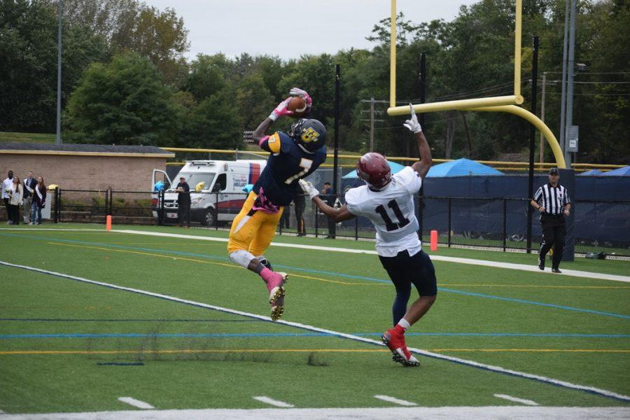 Senior+defensive+back+%28%237%29+Marcellus+Hayes+denies+FDU-Florham+with+an+interception.
