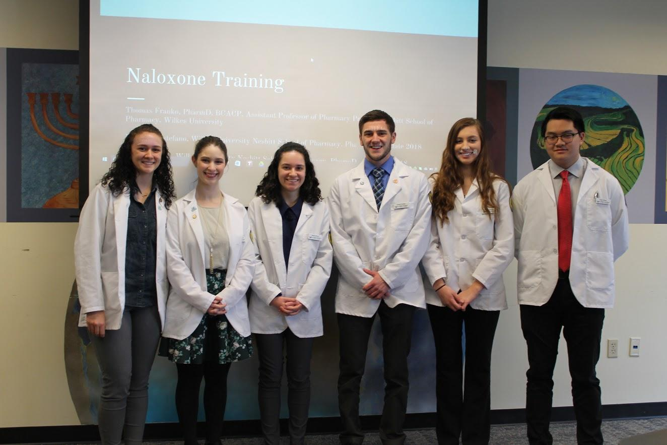 Pharmacy students who presented narxolone administration  training to public safety officers on Feb. 3.  Left to right: Britnee Atherholt, Jennifer Lee, Sarah Ahearn, Austin Paisley, Lauren Albright, Quan Nham.