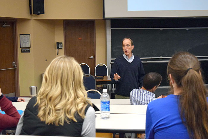 Dr. Joel Fish lectures Wilkes athletes on the psychology behind sports.