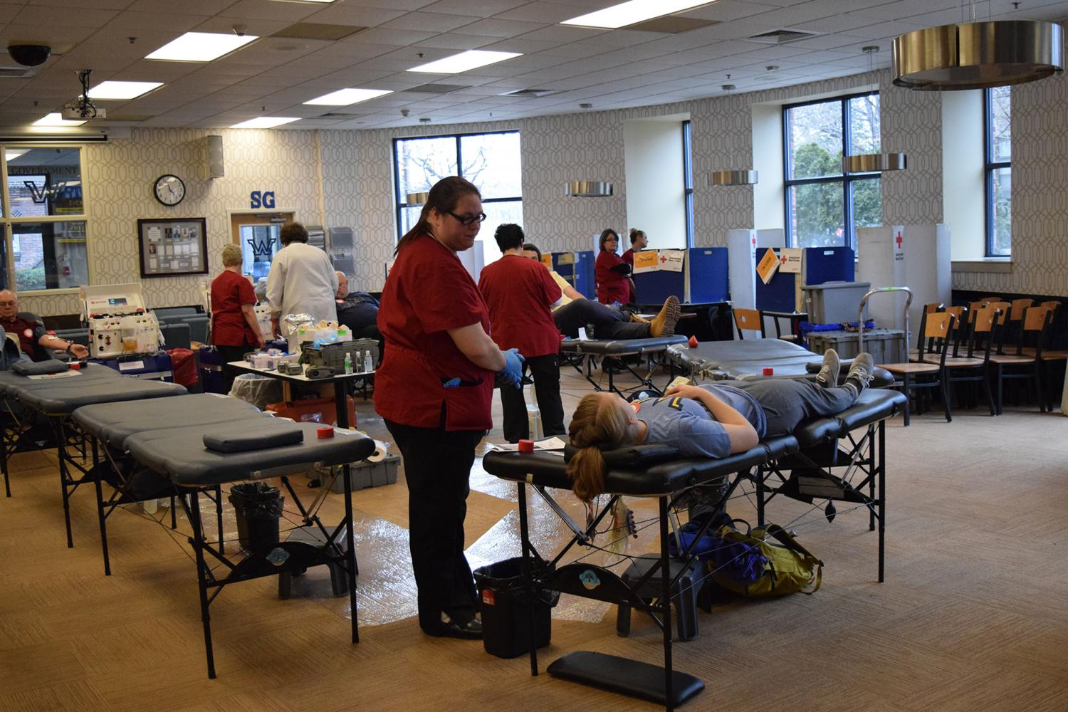 A student gets blood taken at a February 2017 blood drive held by Wilkes University and the American Red Cross.