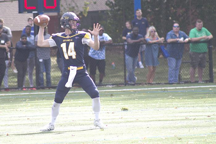 First-year quarterback Nick Geimer (14) led the team on a 67-yard scoring drive.
