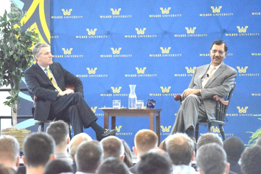 Wilkes University President Patrick Leahy and Jay S. Sidhu discuss Sidhu's life and success at the well attended Q & A on Oct. 17.