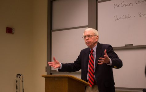 Dr. Donald Grier Stephenson, former professor of political science with a specialty in constitutional law and current Charles A. Dana Professor of Government, Emeritus, at Franklin and Marshall College, discussed the Establishment Clause of the First Amendment at Wilkes on Nov. 9.