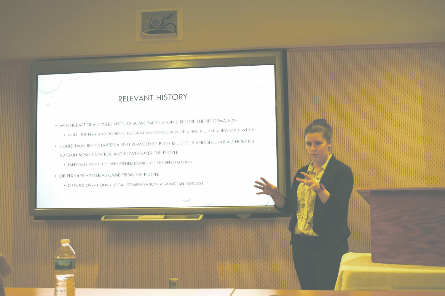 "Courtney McMonagle, a senior history major, presented her capstone research project titled ""The Magic of Reformation Era Europe: Witchcraft and the Courts.""  The project focused on how different European countries reacted to the witchcraft hysteria."