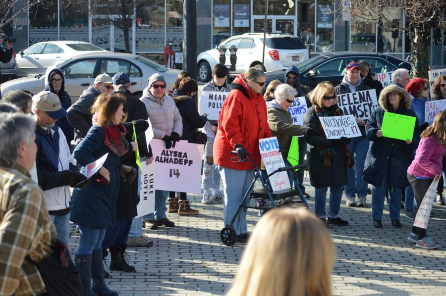 Citizens of Wilkes-Barre held signs supporting stronger gun control, as well signs dedicated to the remembrance of victims of the Parkland shooting.