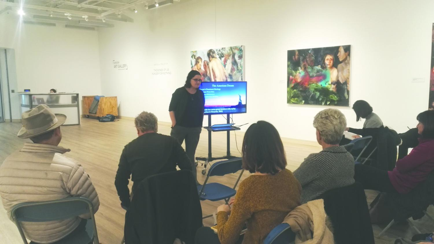 The lecture, held by Dr. Ellen Newell, was held in the Sordoni Art Gallery.