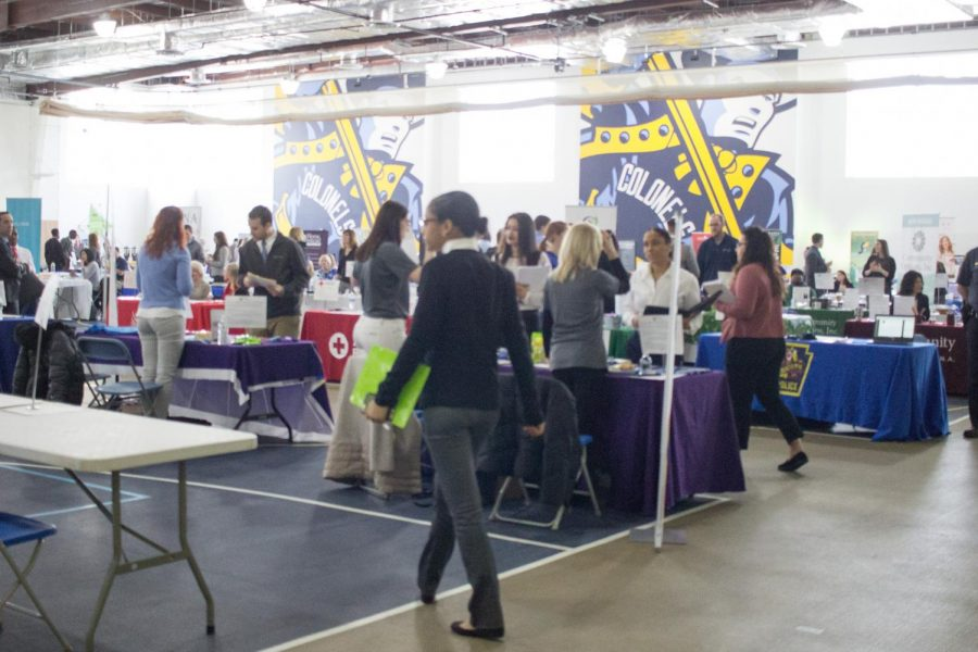 Many+Wilkes+students+stopped+by+the+career+fair+to+speak+with+representatives+from+a+wide+variety+of+different+career+fields.