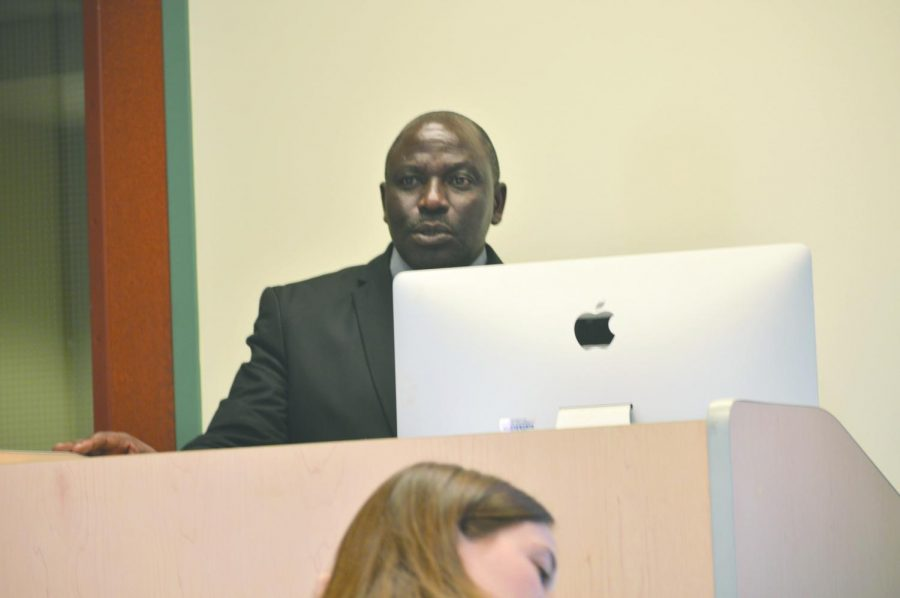Charles Bahati spoke to a variety of classes during his time here, including Dr. Winkler's Global Health course and Dr. Adekola's International Business course.