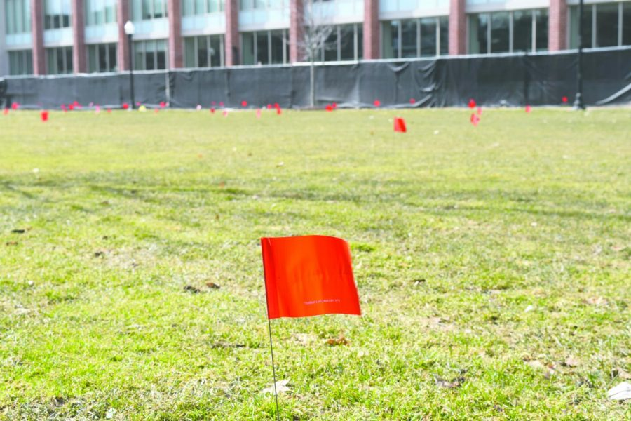 The Red Flag Campaign put red flags around campus to bring awareness to 'red flags' in abusive relationships, which many do not notice initially.