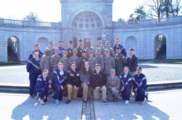 The ROTC students posing in front of The Women in Military Service for America Memorial.
