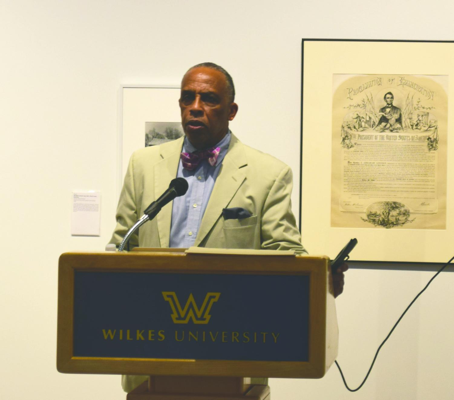 William Earle Williams gave a lecture on the process of curating his exhibit.