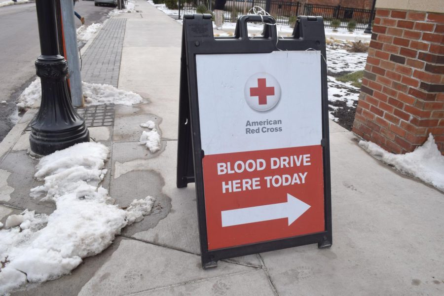 The blood drive took place on Valentine's Day, just two days after a snowfall. The weather has caused problems for the Red Cross.